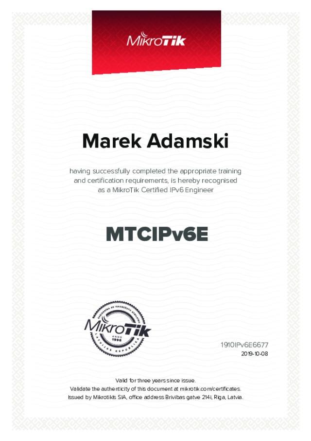 MikroTik Certified IPv6 - Engineer